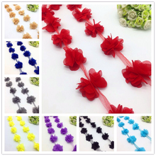1 Yard 3D Chiffon Flower Lace Trim Baby Hair Band Lace Fabric Decoration DIY Garment Accessories Ribbon(China)
