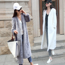 Fall winter outerwear faux mink fur loose fashion medium-long thermal marten overcoat for women , women artificial fur coat