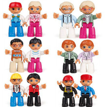 12pcs/set 2-6 Years Big Size In Blocks Compatible With legoe DUPLO Family Worker Police Figure Toys For Kids Gift