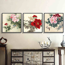 Dainty Blooming Peony Nordic Art Picture Chinese Style Canvas Mural Drawing Elegant Wall Paper Ornaments for Corridor Study Home