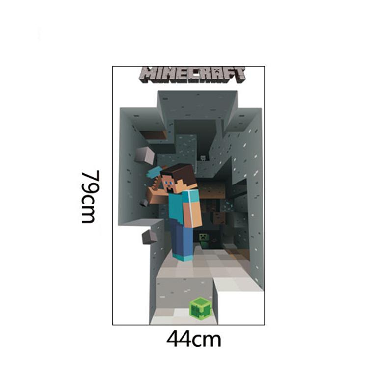 HTB1qQdOa63z9KJjy0Fmq6xiwXXaM - Removabled 3D Wallpaper Decals Minecraft Wall Stickers For Kids Rooms  Minecraft Steve Home Decor Popular Games Mural
