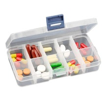 Small 10cells transparent plastic storage box storage jewelry box kit pill cases(China)