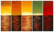 Five Planets Large Modern 5 Piece Wrapped Abstract Landscape 100% Hand Painted Colorful Contemporary Ocean Sea Oil Paintings