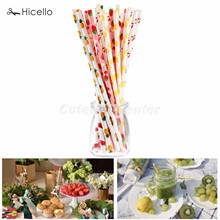 25pcs Drinking Paper Straws Fruit Birthday Wedding Christmas New Year Decorative Party Eco crarft paper pineapple lemon cherry(China)