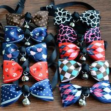 1pc Cute Adjustable Cat Dog Puppy Pets Bowknot Collars with Bells Necklace Collar Bow tie Random Color Pet Grooming Supplies(China)