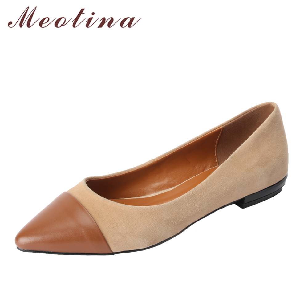 Meotina Genuine Leather Women Flat Shoes Pointed Toe Boat Shoes Cow Leather Ladies Flats 2018 New Mixed Color Ballet Shoes Grey<br>