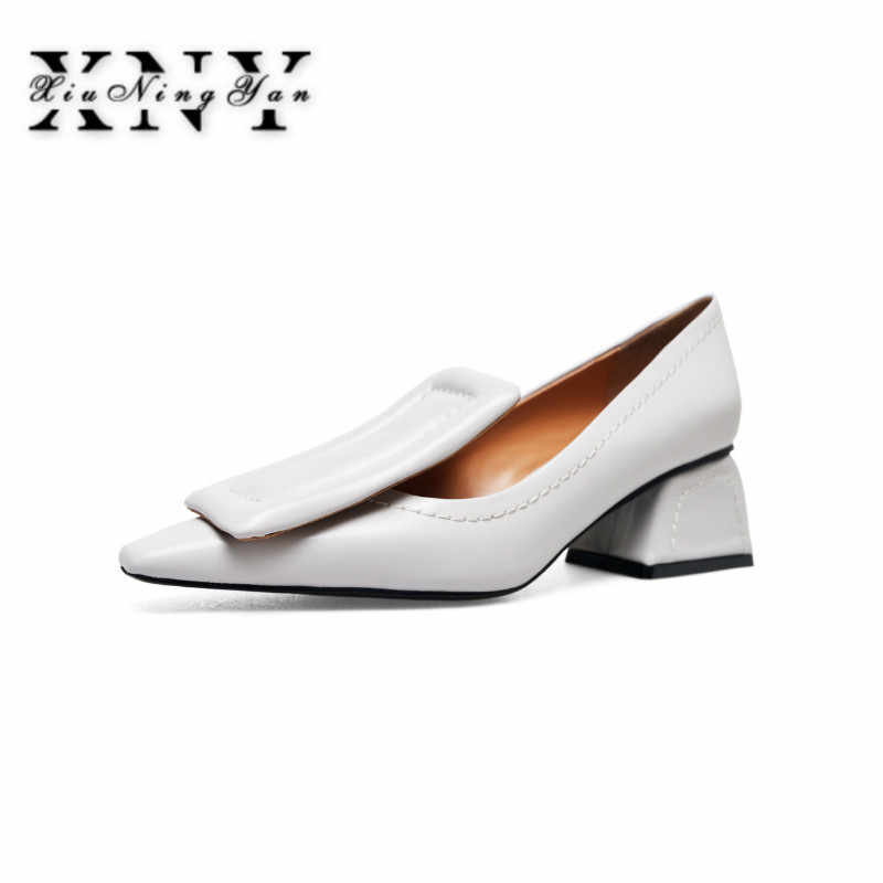XIUNINGYAN Plus Size 33-40 Women Autumn High Heels 5cm Shoe Fashion Shallow  Pumps Office 6f77aca125e7