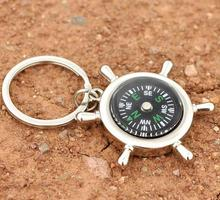 FREE shipping by FEDEX 100pcs/lot New Metal Zinc Alloy Compass Rudder Keychain Fashion Keyring for Gift(China)