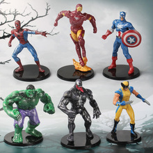 6 pcs/set Newest Marvel Avengers Action Figure Set Anime Captain America Iron Man Wolverine Spider-Man Hulk PVC Model Toys