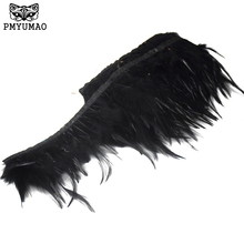 PMYUMAO Dyed feather ribbon 4-6inch 2meter/lot high quality Rooster Feathers Fringe Trim for Costume decoration(China)