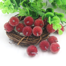 20PCS/Lot 2CM Mini Fake Fruit Glass Berries Artificial Pomegranate Red Apple Cherry Stamen Bouquet For Home Wedding Decoration(China)