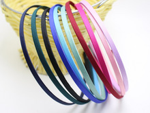 20 Mixed Color Metal Headband Covered Satin Hair Band 5mm for DIY Craft