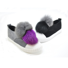 Women Casuals Shoes Slip Ons Fur Loafers Shoes 2017 New Design Fashion Flat Shoes Women Lady Round Toe Fur Flats