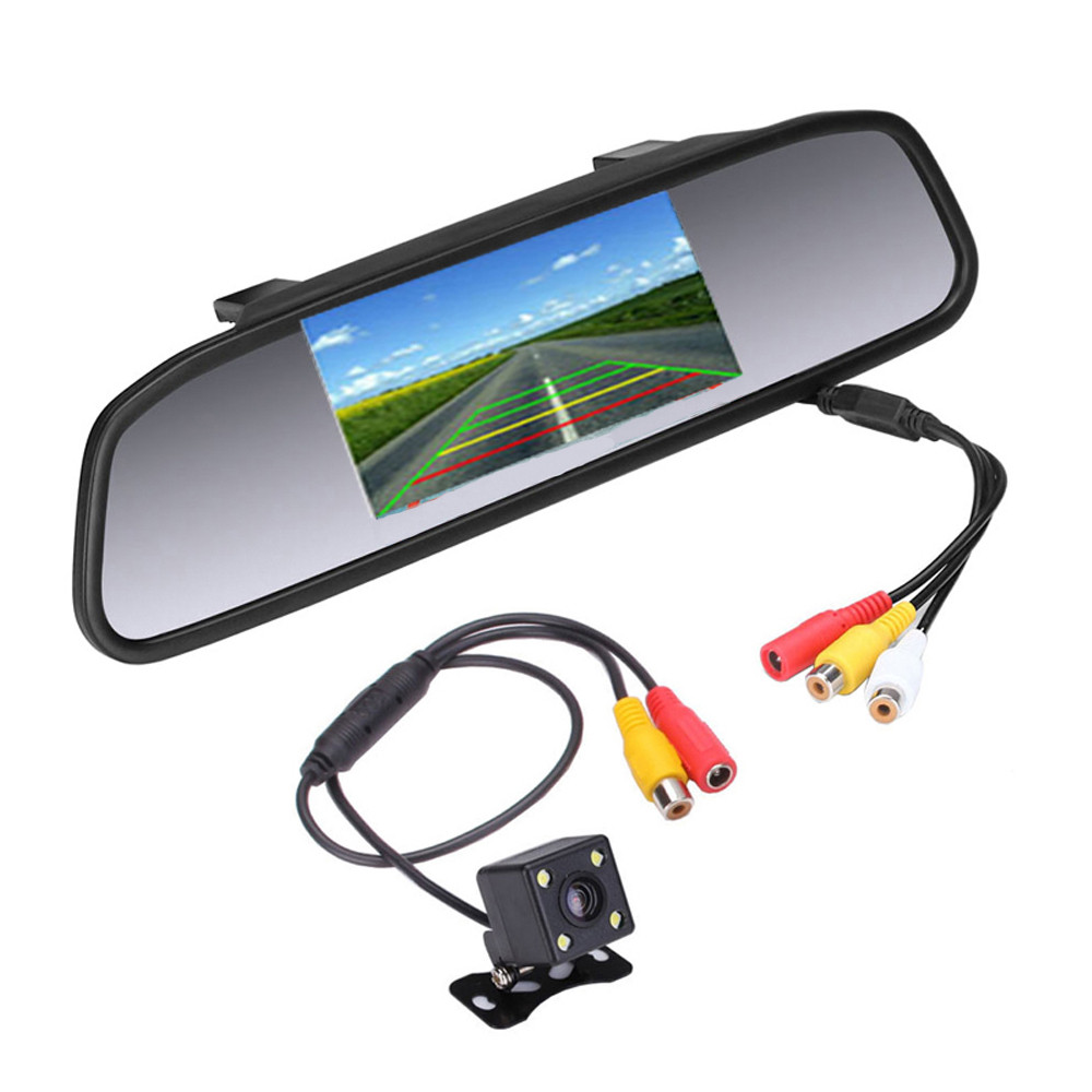4.3inch Car Rearview Mirror Auto Dimming Monitor With Bracket Mirror Dash Cam Black Rearview Mirror Monitor