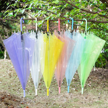 Rainbow transparent umbrella fashion originality straight handle advertising umbrella clear umbrella pink yellow blue green(China)