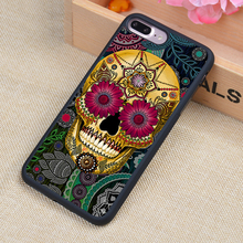 Day of the Dead Sugar Skull Printed Phone Case Skin Shell For iPhone 6 6S Plus 7 7 Plus 5 5S 5C SE 4 4S Rubber Soft Cell Cover