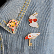 Cute Star Stick Magic Wand Bird Head Rabbit Brooch for Girls Denim Jacket Pin Uniform Badge Fashion Japanese Animation Jewelry(China)