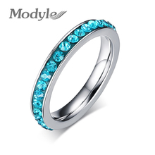 2017 New Fashion Cute Rings for Women Single Row Crystal Wedding Ring Jewelry Wholesale Promotion(China)