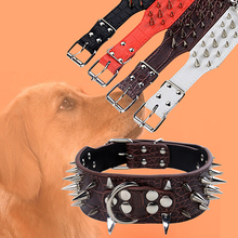 Wide Sharp Spiked Studded Faux Leather Dog Collar for Medium Large Pet Pitbull Store 51(China)