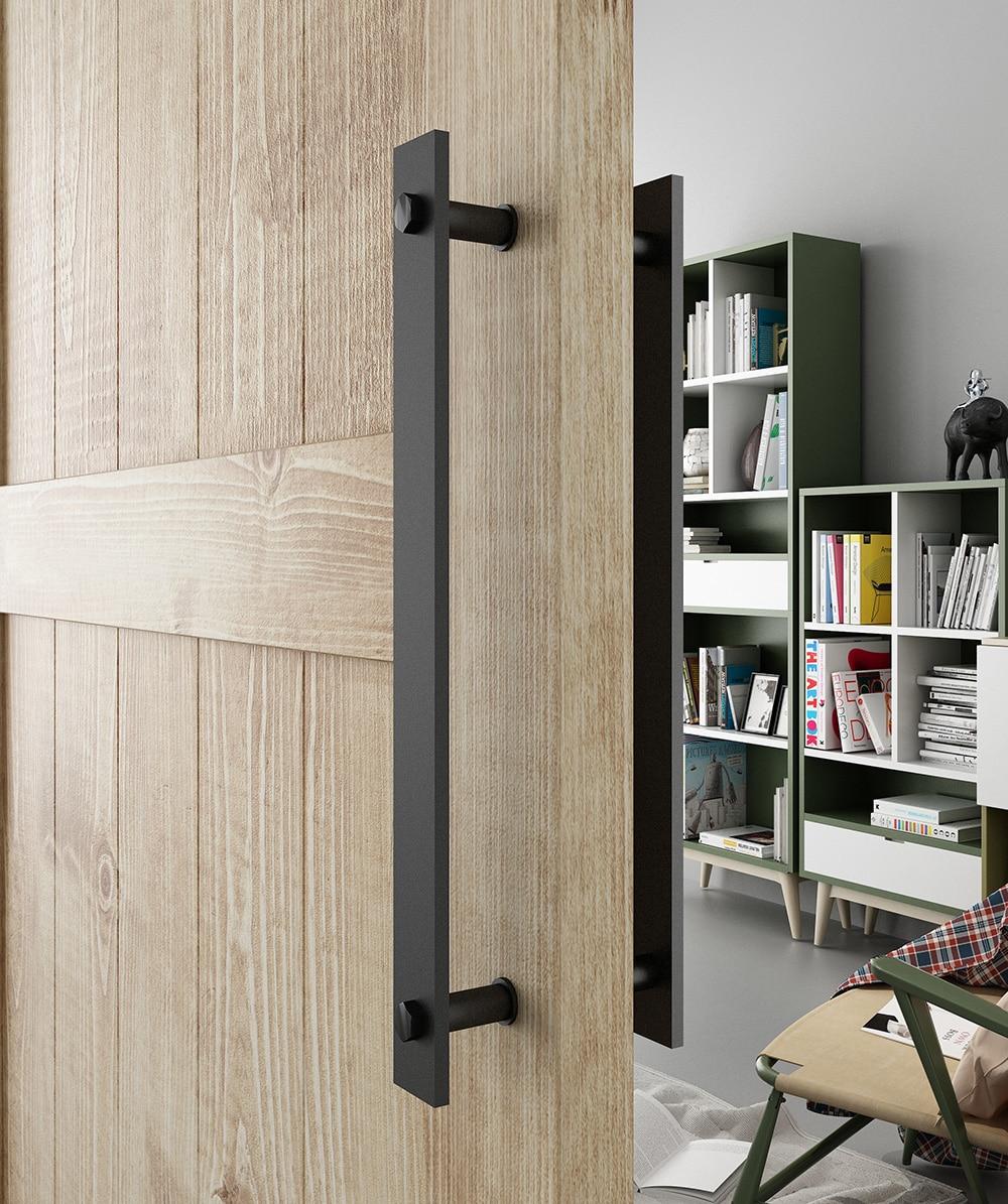 DIYHD 14 Steel Rustic Black Barn Door Handle And Pull Wood Door Two-Side Flat Bar-to-Bar handles <br>