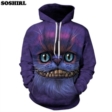 SOSHIRL Cheshire Cat Women Unisex Hoodies Pullover Funny Cat Hoodie Sweatshirt Tee Shirts Clothes Women/Men Pullover