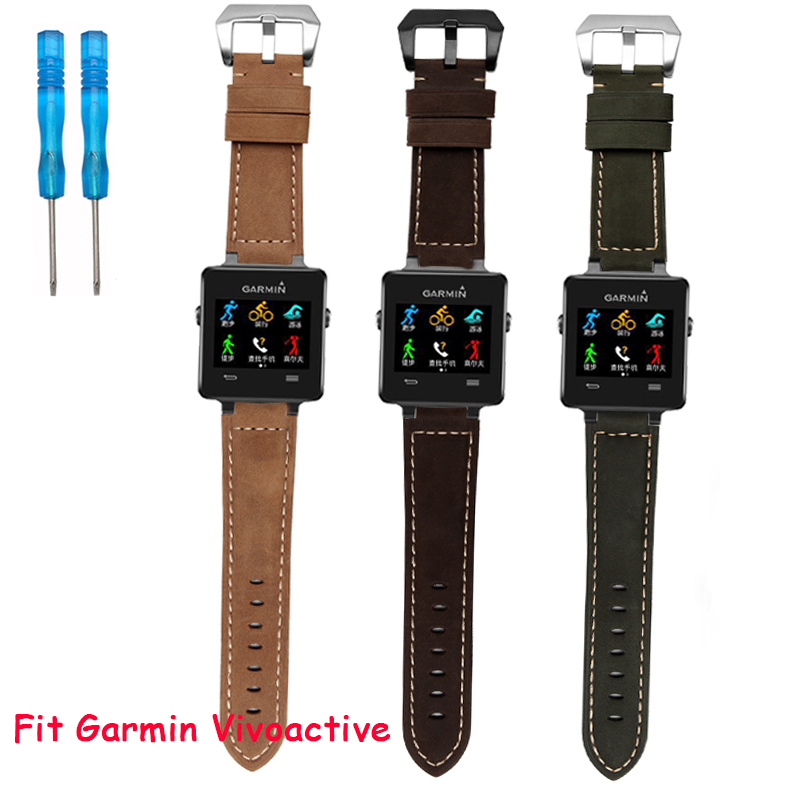 24mm*16mm Men Women Brown Real Leather Handmade Thick Wrist Watch Band with Silver Buckle For Garmin vivoactive<br><br>Aliexpress
