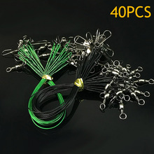 40 Pcs Fly Fishing Line Connector Leader Wire Assortment Sleeve Stainless Steel Rolling Swivels Accessory ALS88