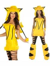 Limited Women Cute Yellow Pikachu Costume For Halloween Adult Animal Fancy Dress(China)