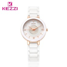 Fashion Kezzi Ceramic Watches White Csaual Waterproof Quartz Watch Rhinestone Crystal Wristwatch For Women Clock montres femmes