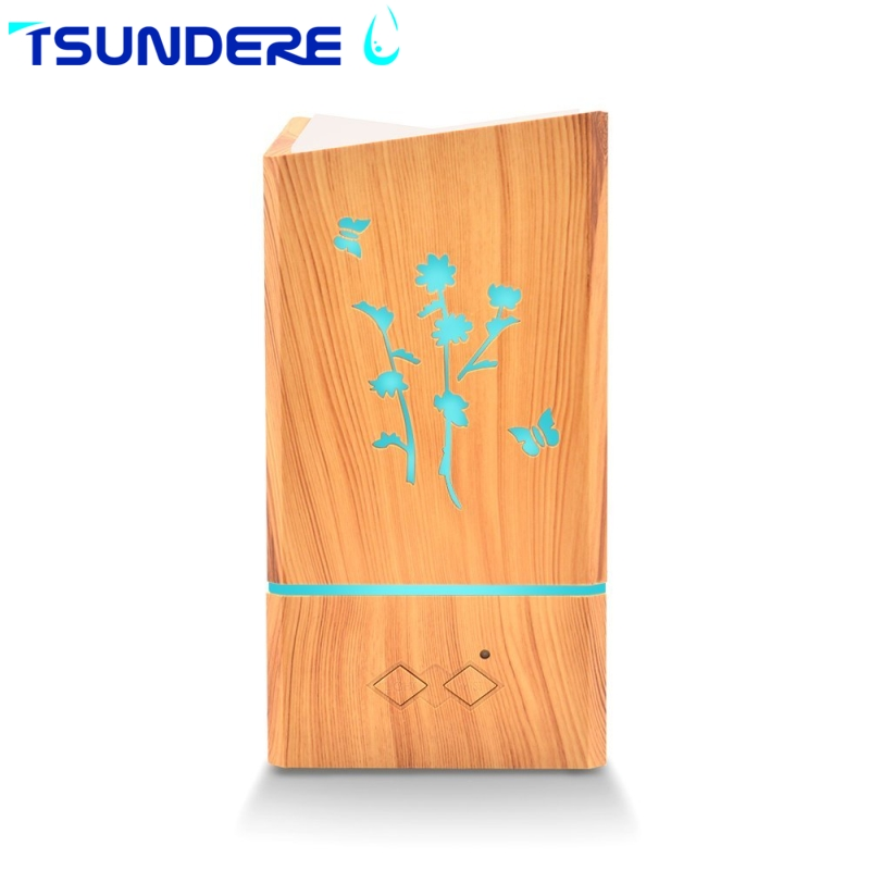 TSUNDERE L Air Humidifier 300ML Ultrasonic Aroma Essential Oil Diffuser Mist Maker Wood Fragrance for Bedroom Babyroom Office<br>