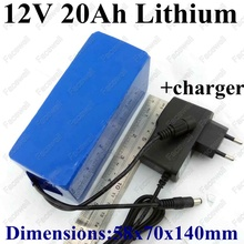 Real capacity 20Ah 12v 20000mah dc 12v portable li-ion 12v lithium battery pack for backup power bank external battery + Charger(China)