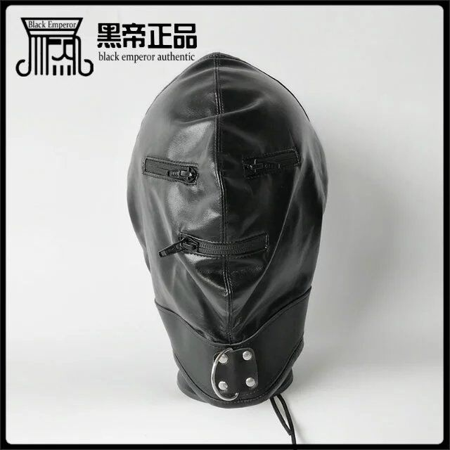 TOP quality leather bdsm bondage hood adjustable fetish mask Headgear with zipper 3 color choose sex products erotic toys <br><br>Aliexpress