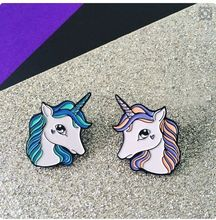 2017 Cartoon Cute Enamel Blue Purple Horse Unicorn Charm Costume Brooches Pins Fashion Jewelry Free Shipping For Women Girl Gift