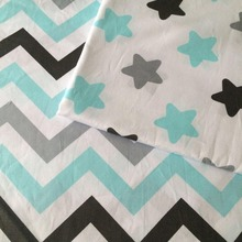 100*160cm white cloth with grey black blue stars zigzag 100% cotton twill DIY patchwork craft kids bedding cushion chic fabric(China)