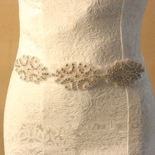 crystal rhinestone beaded trims applique silver bridal rhinestone appliques bridal wedding dress belts and sash(China)