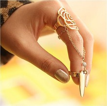 2016 New Hot Fashion Fine Jewelry Pierced Rose Conjoined Personality Geometry Tassel Rhinestone Fingernail Rings For Women