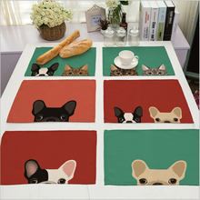 Lovely Dog Cartoon Party Supplies Table Cloth Cotton Linen Drawing Table Cloth Mat Dishware coasters For Party Dinner Accessorie
