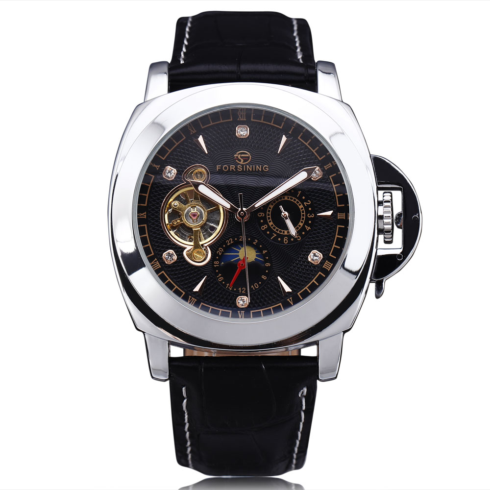 FORSINING Brand Classic Men Tourbillon Automatic Watch Leather Strap Diamond Luxury Mechanical Sport Military Watches For Men<br>