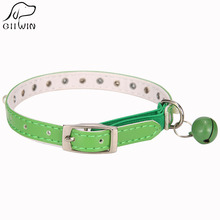 [GIIWIN] Puppy Dog Collar Cat Adjustable PU Leather Size S Solid Color Blue Pink Leash Collar for Small Medium Pet Cat JW0005(China)