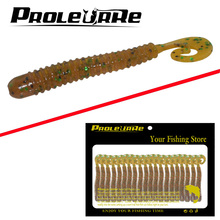 Proleurre 20Pcs Salt Smell Silicone Worms Artificial 1.5G Volume Tail Earthworm Fishing Soft Baits Mix Lead Hook Fishing Lures(China)