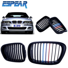 New 1set Wide Kidney Front Grilles Grill For BMW E39 5series 525 528 530 535 M5 97-03 Matte Black M-Color + Retail Box #928