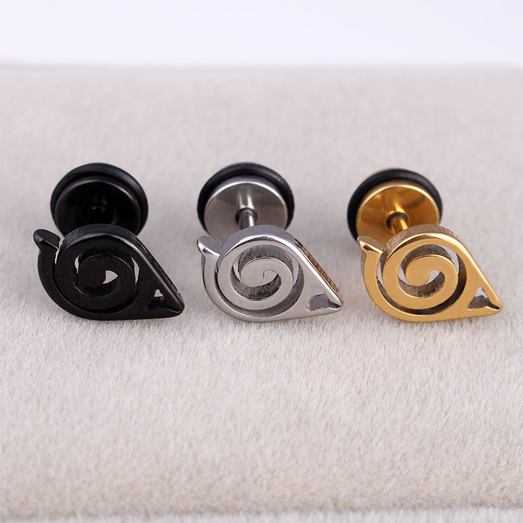 Unisex Anime Naruto Earrings Ear Stud Gaara Cosplay Steel Black Cute Free Shippi