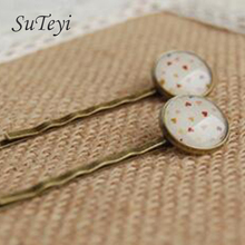 SUTEYI 2017 Fashion glass cabochon hearts girls hairpins Accessories Style Bronze Hair pins Clips Vintage handmade jewelry(China)