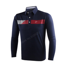 new autumn men golf shirts long-sleeve training garment sports jersey striped shirts polo tops golf wear brand shirt white red