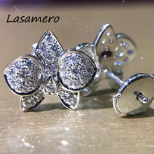 LASAMERO 0.57CTW Natural Diamond Round Cut Cluster Earrings 18K White Gold Halo Stud Earrings Fine Jewelry Earring Studs(China)