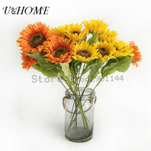 Artificial Sunflower Fake Big Silk Flower Cheap For DIY Home Party Wedding Arrangements Bouquet Accessories Bulk (Yellow/Orange)