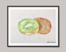 Original Watercolor Kiwi Fruit wall art canvas painting Pop poster print Pictures Kitchen home Decor wall hanging sticker gifts