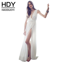 Haoduoyi Womens 2017 Summer Sexy White Slim Plus Size Maxi Dress Thigh High Split Sleeveless Party Long Dresses - NEW FASHIONS store