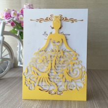 12pcs/lot Beautiful dress girl birthday paty wedding invitation cards Adult Ceremony invitaiton card blessing card QJ-68