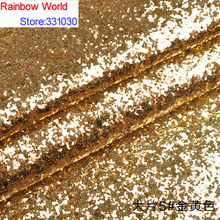 5# golden Thick Shiny Vinilic Sequin PU Leather fabric with paillette for DIY wedding decotate KTV hotel Garment(138*500cm)(China)
